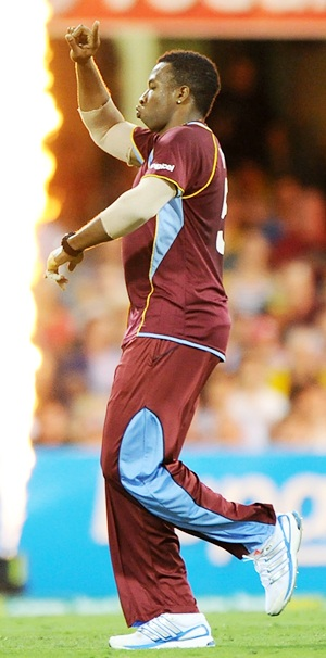 Kieron Pollard of the West Indies celebrates