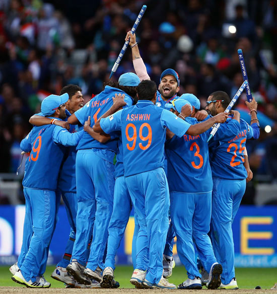 The Indian cricket team celebrates
