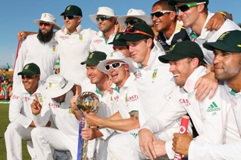 The South Africa team with the ICC Test championship mace