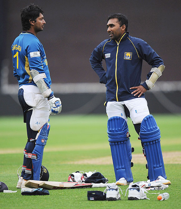 Kumar Sangakkara and Mahela Jayawardene of Sri Lanka