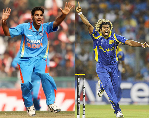 India's Bhuvaneshwar Kumar and Sri Lanka's Lasith Malinga