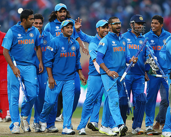 The India team celebrates a win