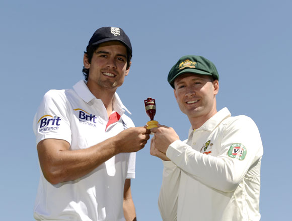 England's captain Alastair Cook stands with Australia captain Michael Clarke (right) while holding a replica Ashes urn before Wednesday's first Test at Trent Bridge