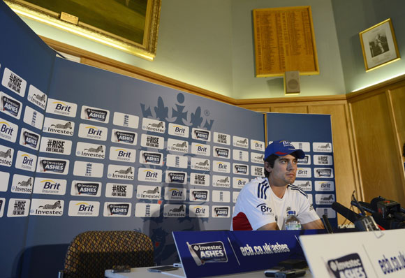 England's captain Alastair Cook talks during a news conference