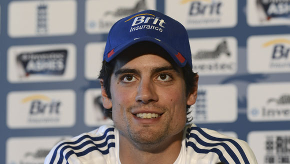 England's captain Alastair Cook talks during a news conference ahead of the opening Ashes Test at Trent Bridge