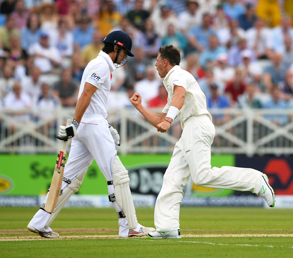 James Pattinson celebrates the wicket of Alastair Cook