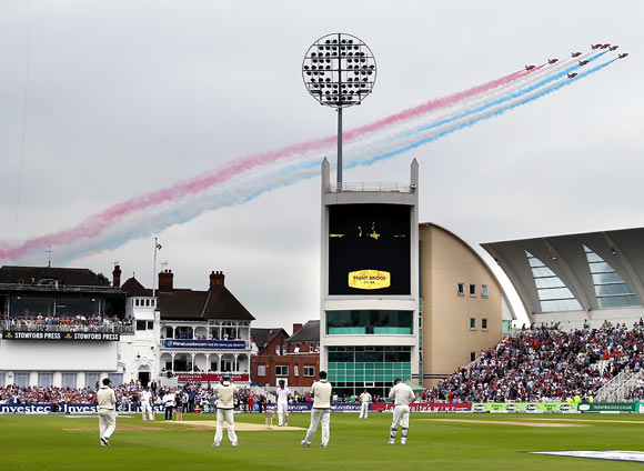 The Red Arrows fly over Trent Bridge