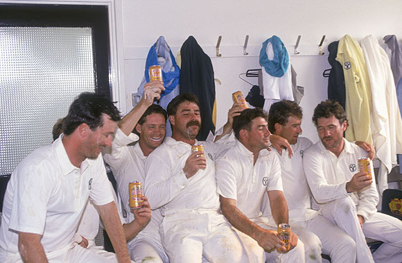 The Australian cricket team celebrate their win against England in the First Test in the Ashes series at Headingley, on 13th June 1989