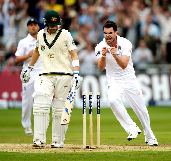 James Anderson is jubilant after getting the wicket of Michael Clarke