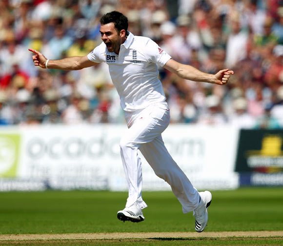 James Anderson celebrates after taking the wicket of Steve Smith