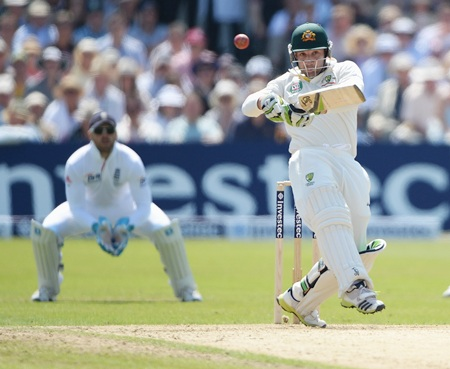 Phil Hughes of Australia hits out