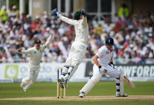 Brad Haddin celebrates after taking the catch that dismissed Jonny Bairstow