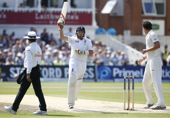 England's Ian Bell celebrates his century against Australia during the fourth day of the first Ashes Test at Trent Bridge in Nottingham
