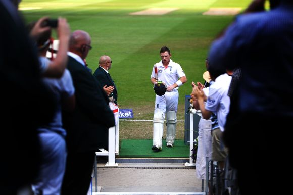 Ian Bell of England walks back to the pavilion after scoring 109 runs