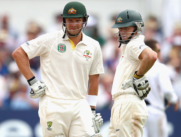 Shane Watson and Chris Rogers of Australia