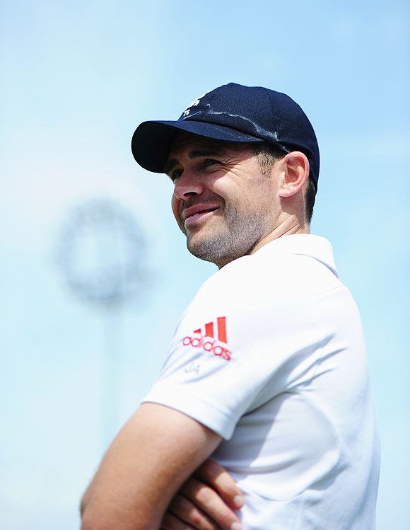 Man of the Match James Anderson of England smiles