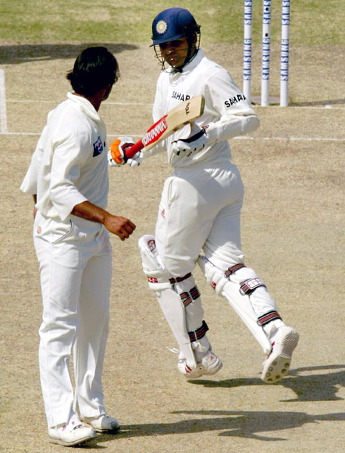 Virender Sehwag (right) clashes with Shoaib Akhtar