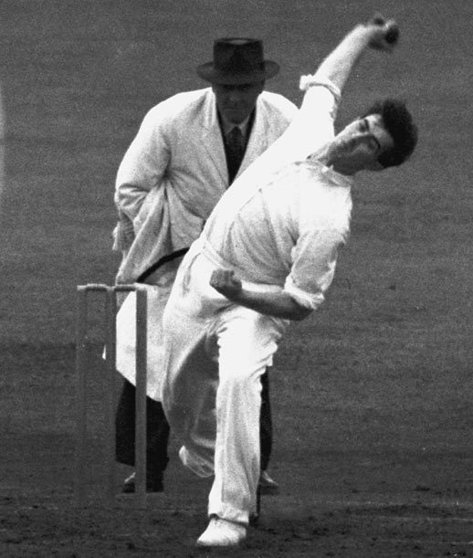England's Fred Trueman bowls against India during the third Test match at Old Trafford in Manchester on July 17-19, 1952.