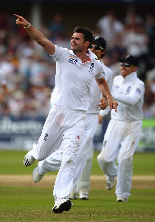 James Anderson of England celebrates the wicket of Chris Rogers of Australia during day four of the 1st Investec Ashes Test match between England and Australia at Trent Bridge Cricket Ground