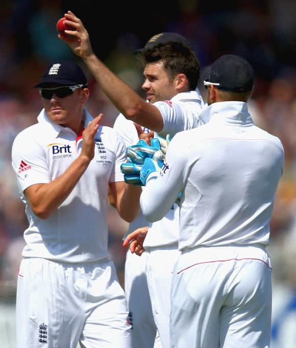 James Anderson of England celebrates taking his fifth wicket