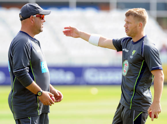 David Warner (right) with Darren Lehmann
