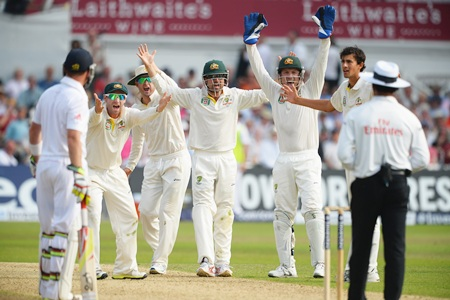 Australia players appeal unsuccessfully for the wicket of Stuart Broad on day three of the 1st Ashes Test match at Trent Bridge