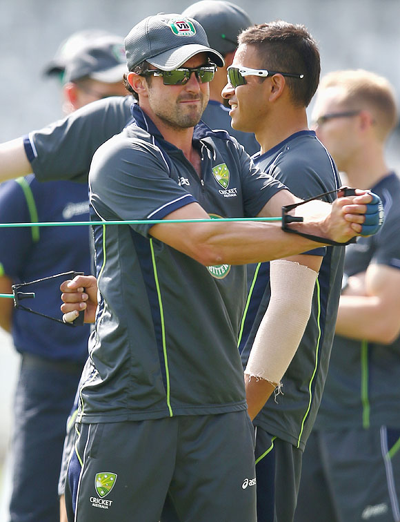 Ed Cowan and Usman Khawaja of Australia warm up during an Australian nets session at Lord's on Tuesday