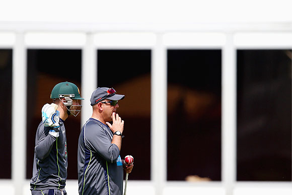 Michael Clarke coach Darren Lehmann during a nets session at Lord's on Tuesday