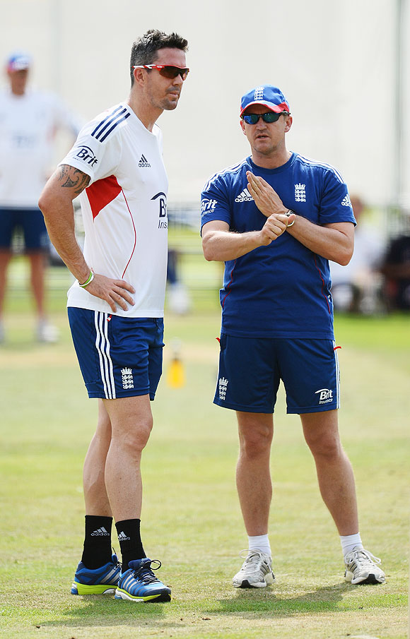 Kevin Pietersen and Andy Flower of England have a discussion during an England nets session at Lord's on  Tuesday