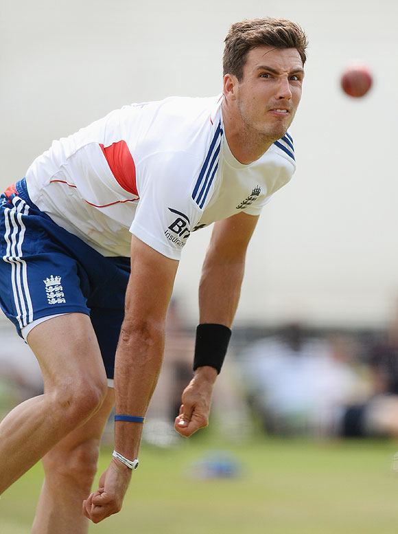Steven Finn of England bowls in the nets at Lord's on Thursday