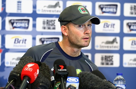 Michael Clarke speaks to the media during an Australia's media session at Lord's on Wednesday