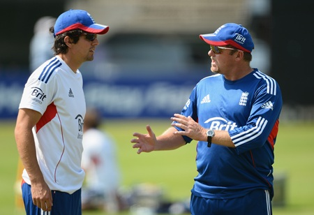 Captain Alastair Cook chats with bowling coach David Saker during England's nets session at Lord's