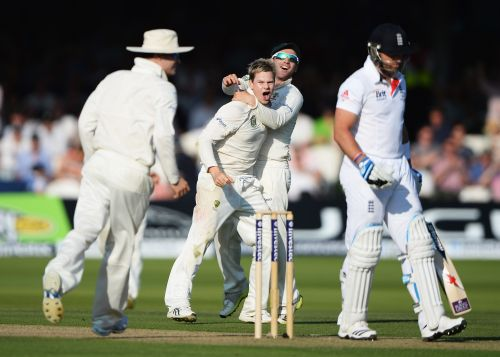 Steve Smith celebrates after dismissing Matt Prior