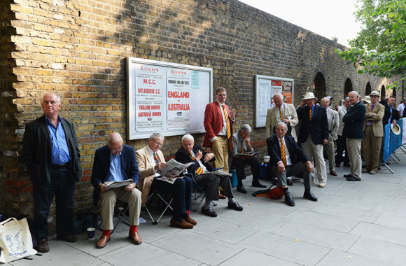 Spectators queue prior to day one of the Lord's Test