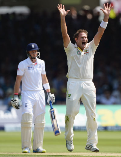 Ryan Harris of Australia appeals successfully for the wicket of Joe Root of England during day one