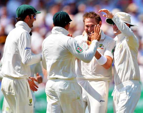 Ryan Harris (2nd right) celebrates with his team mates after taking the wicket of Jonathan Trott