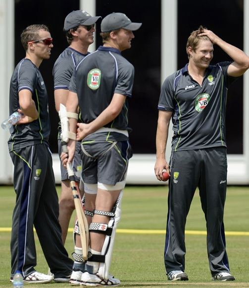 Australia's Shane Watson (right) stands with Mitchell Starc (left), Peter Siddle and Glenn McGrath