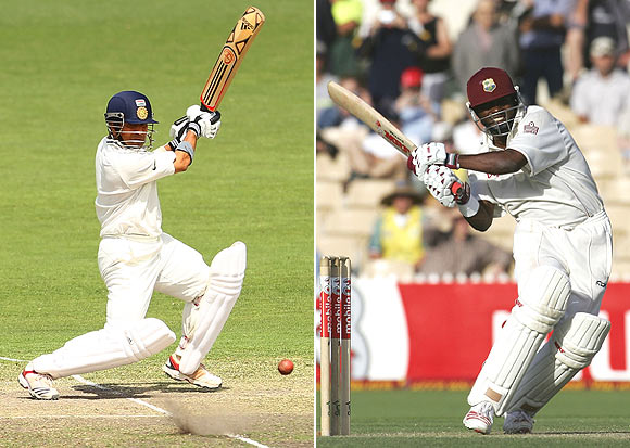 Sachin Tendulkar (left) and Brian Lara