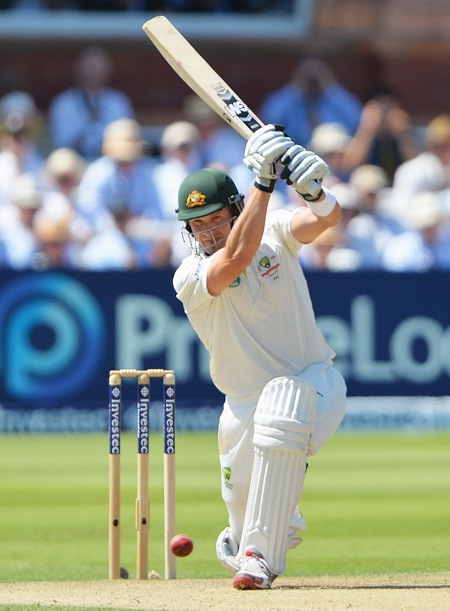 Shane Watson drives on Day 2 of the second Test