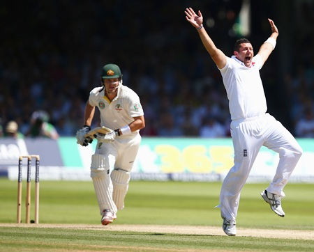 Tim Bresnan appeals successfully for leg before wicket against Shane Watson