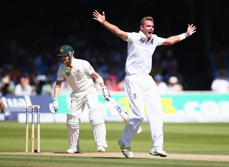 Stuart Broad celebrates after taking the wicket of Michael Clarke