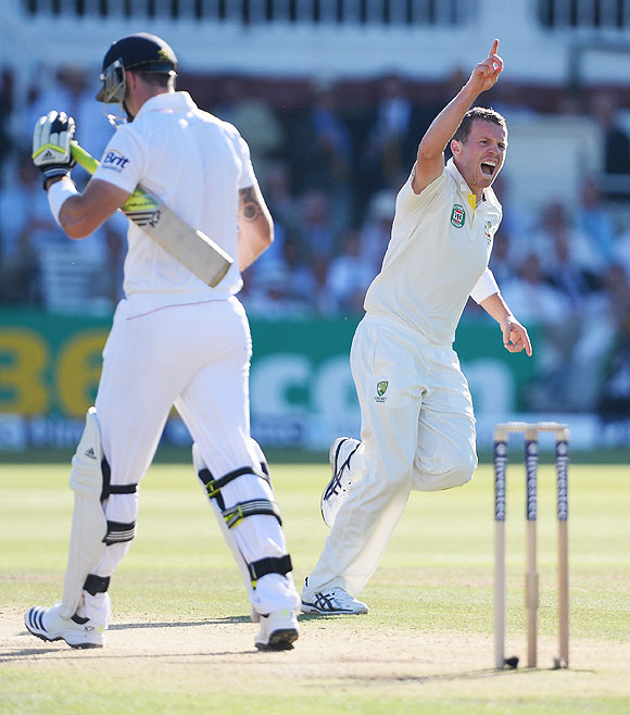 Peter Siddle celebrates the wicket of Kevin Pietersen on Day 2 of the 2nd Ashes Test at Lord's Cricket Ground in London on Friday