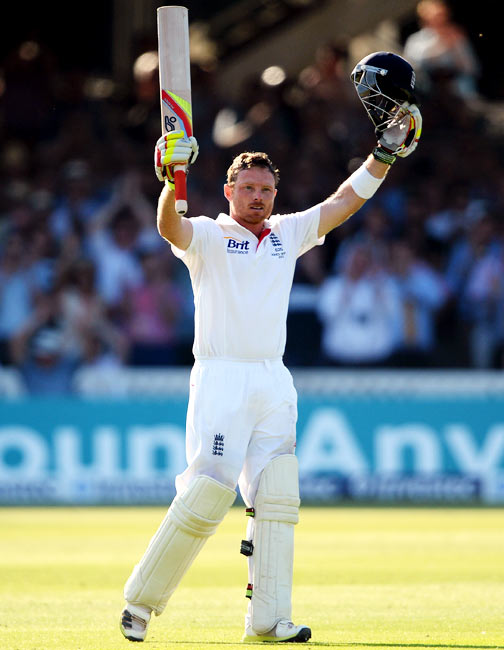 Ian Bell celebrates after completing his century