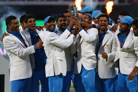 Team India players celebrate after winning the Champions Trophy