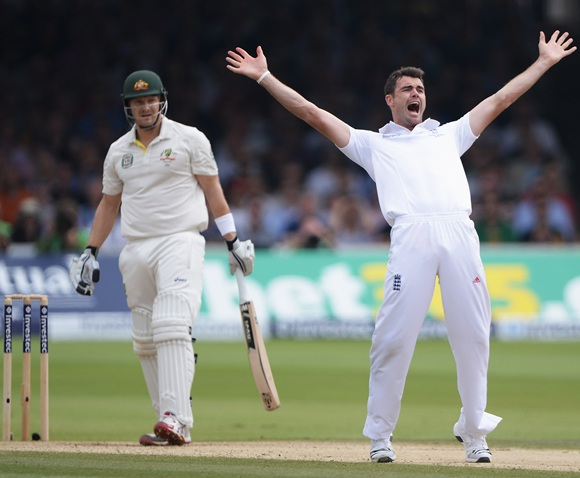 James Anderson celebrates the dismissal of Shane Watson