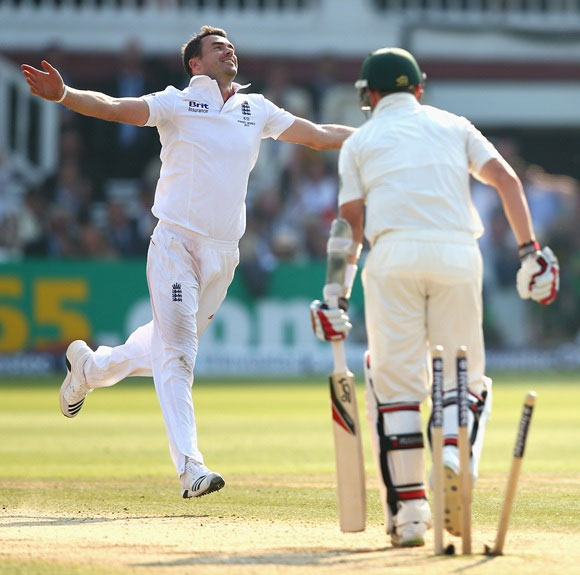 James Anderson celebrates after taking the wicket of Peter Siddle