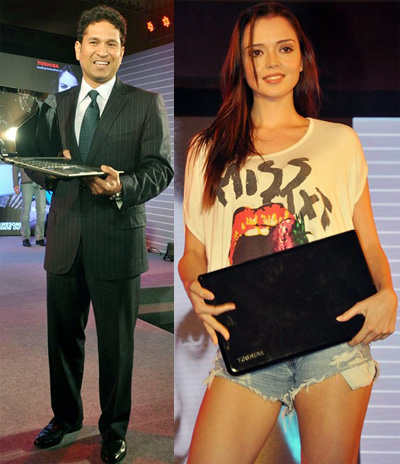 Sachin Tendulkar at the launch of Toshiba Laptops