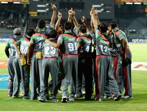 The Afghanistan team gets into a huddle ahead of the ICC World Twenty20 2012: Group A match between India and Afghanistan at R. Premadasa Stadium on September 19, 2012 in Colombo