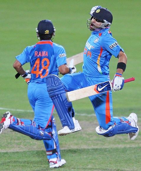 Virat Kohli of India celebrates