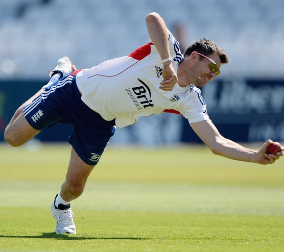 James Anderson of England takes part in a fielding drill